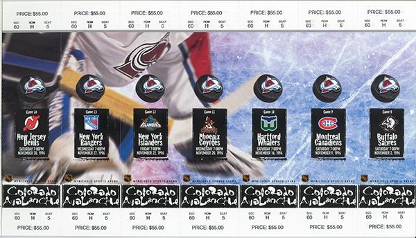 Colorado Avalanche season ticket design