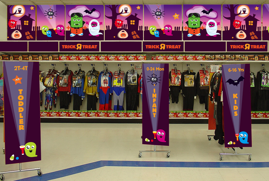 ToysRUs Halloween themed signage