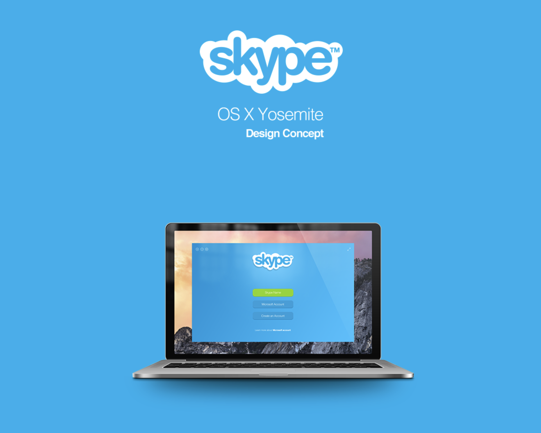 Skype OS X Yosemite App Design Concept