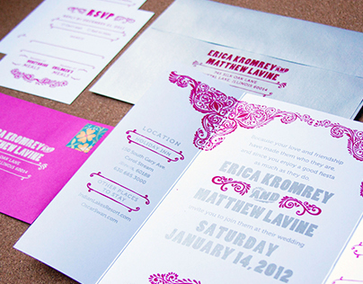 Erica & Matts Screen Printed Invitation Suite