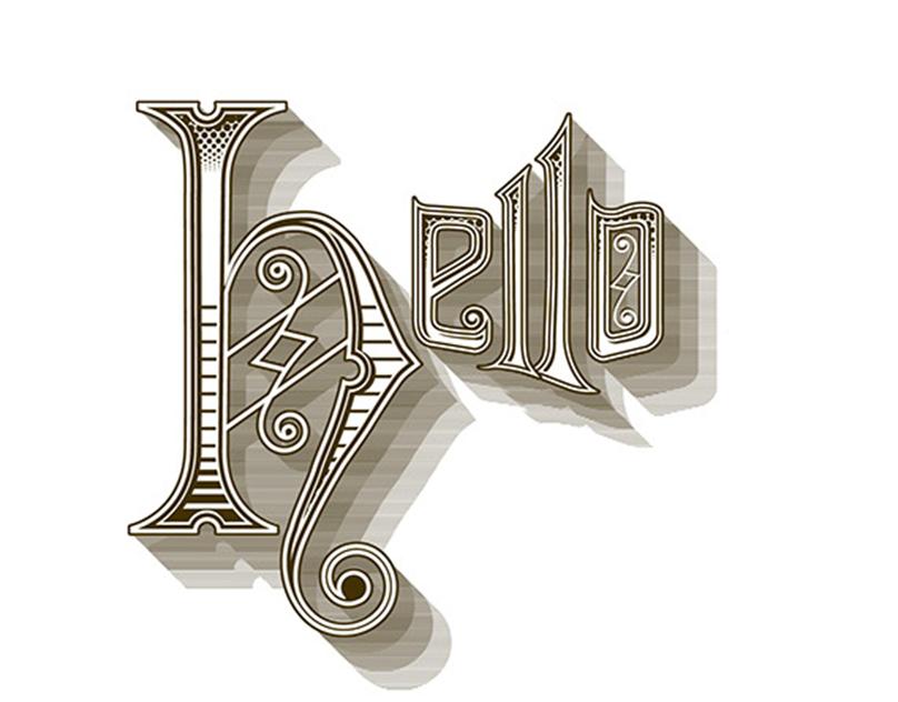 Hand rendered typographic resume
