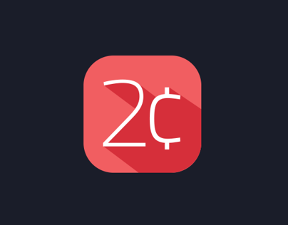 2 Cents flat app icon & logo design