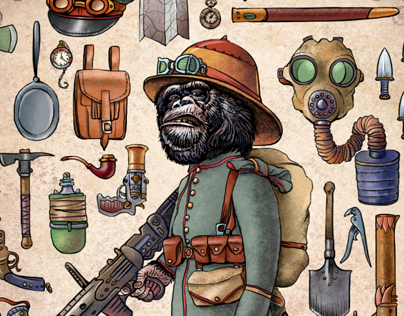 Steampunk Monkey Nation Characters.