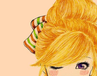 Rainbow Hair Illustration - Yell o wish Girl