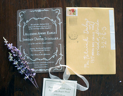 Wooden Wedding Invitations - Jordan and Alli