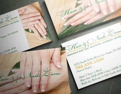 Hair & Nails Zone Business Card