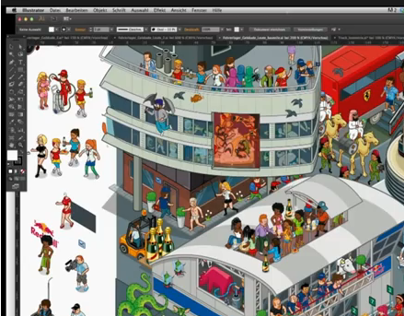 Video: Process of building a Wimmelbild illustration