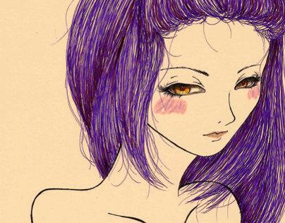 Rainbow Hair Illustration - Purplish Girl