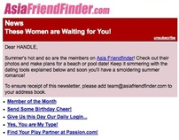 E-newsletter for AsiaFriendFinder.com