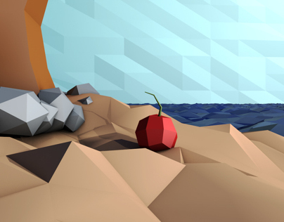 3D Desert Island - Low-Poly