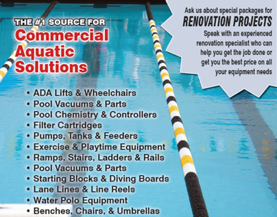 1/3 Page ad for a Swimming Pool Supply Company