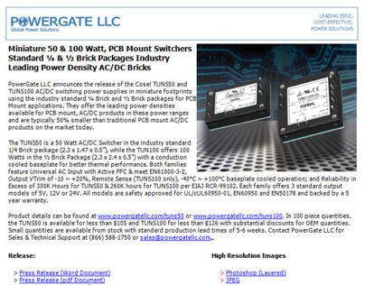 Email Press Release I distribute to the Trade Mags
