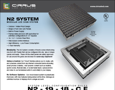 Datasheet for Cirrus LED - Modular LED Sign