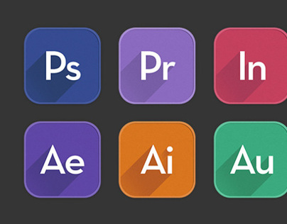 Adobe App Icons in Flat UI design