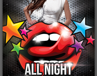 A4 All Night Party Club Flyer PSD