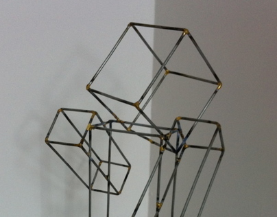 Steel wireframe minecraft character