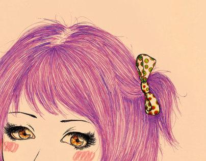 Rainbow Hair Illustration Collection - Pinkish Girl