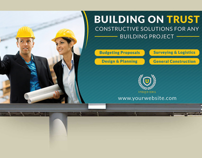 Construction Business Billboard Template