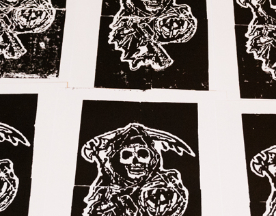 Sons of Anarchy Linoleum Block Prints