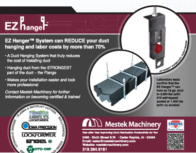 Mestek Machinery Ad for EZ Hanger & ISM by Lockformer
