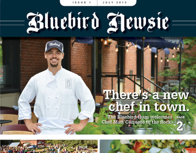 Newspaper Newsletter Insert for Bluebird Tavern