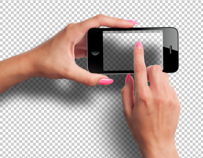 Female Hands with Smartphone Photo-realistic Mockup PSD