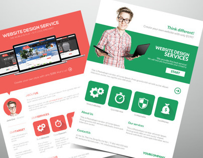 Website Design Flat Style Flyer