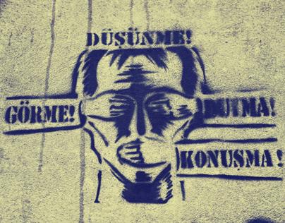 Graffiti-dont think - see - hear - speak!--