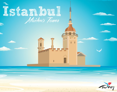 Istanbul Maiden's  Tower Illustration