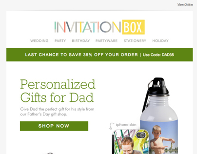 InvitationBox Fathers Day promo email