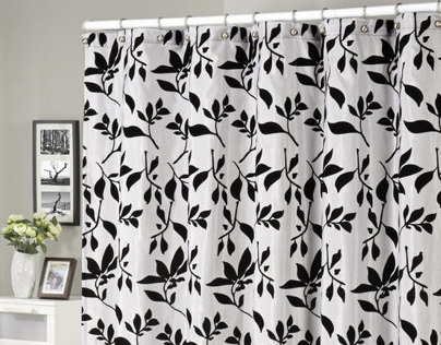 Shadow Leaves Flocked Shower Curtain