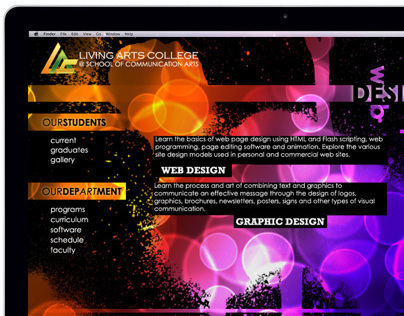 Living Arts College Landing Page Concepts