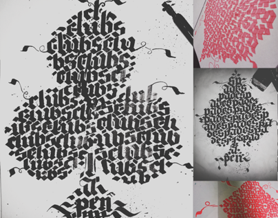 Calligraphy dimensions of playing card colors calligram