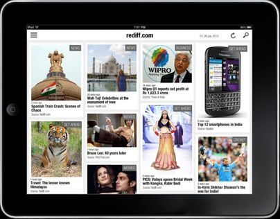 Rediff news on Ipad - Sample UI