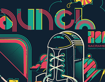 Launch Music Festival - 4 color screenprinted poster