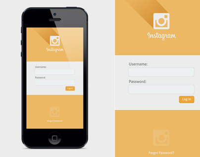 Mobile UI: Flat Instagram Log In Design