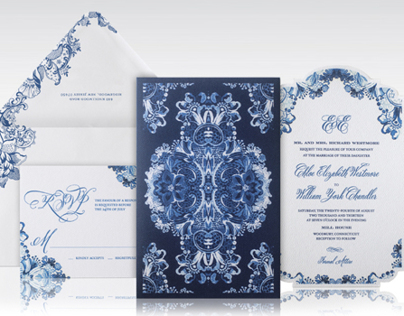 Blue and White Baroque China Wedding Invitation