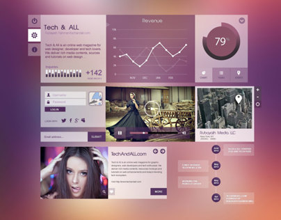 UI Components  Purpel City .PSD