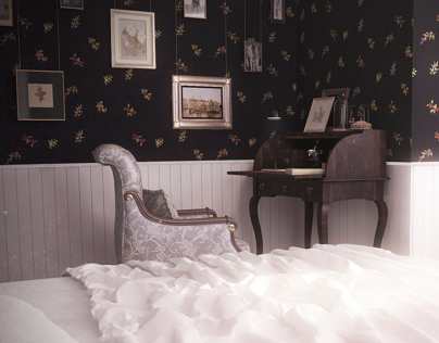 The bedroom in retro style