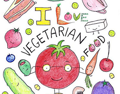 I Love Vegetarian Food Coloring Book