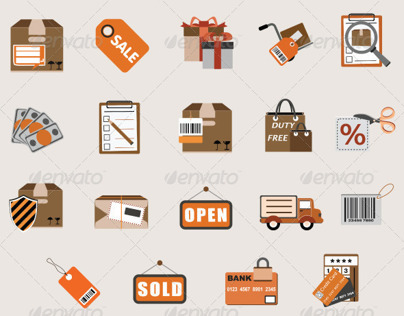 Flat eCommerce and Shopping Icon Vector Set