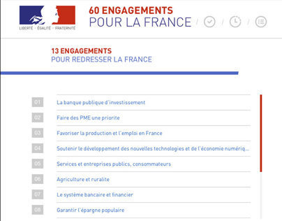 Elysée : 60 engagements pour la France