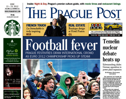 Pre-redesign of The Prague Post, front pages
