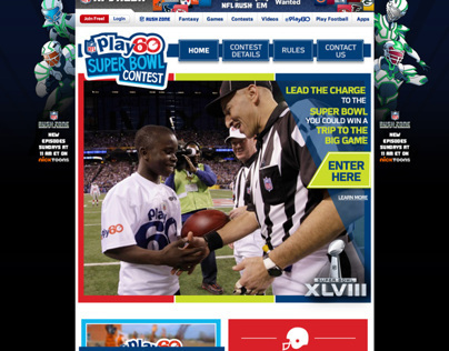 NFL PLAY 60 Landing Page Concepts for Superbowl Contest