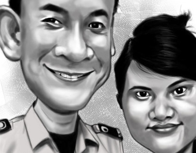 Couple. Caricature Commission (B&W)