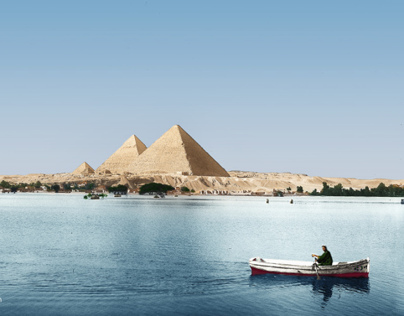 The Nile by the Giza Pyramids