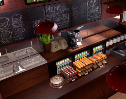 Coffee Shop 3D Interiors