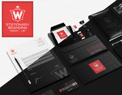 Stationery Branding Mock-Up Black and White Collection