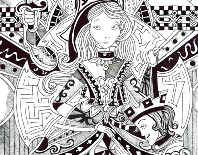 Playing Cards using pen and ink illustration