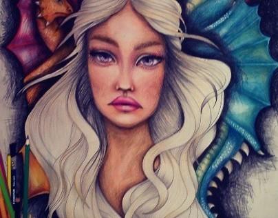 Khaleesi mother of dragons fan art